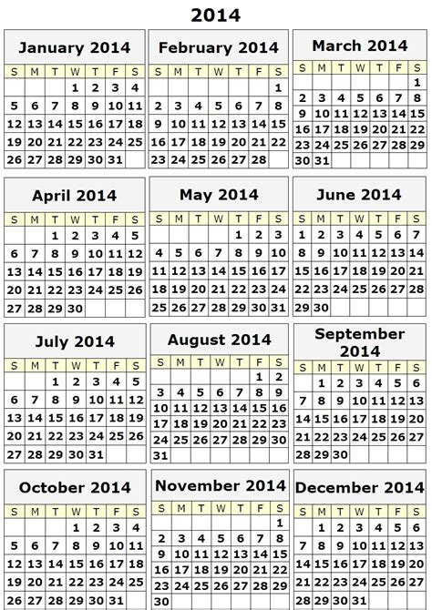printable calendar 2014 yearly best photos of printable 2014 calendar template 2014