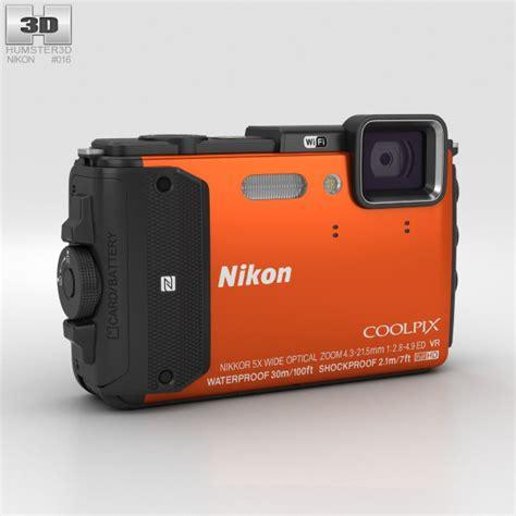 nikon coolpix models nikon coolpix aw130 orange 3d model humster3d