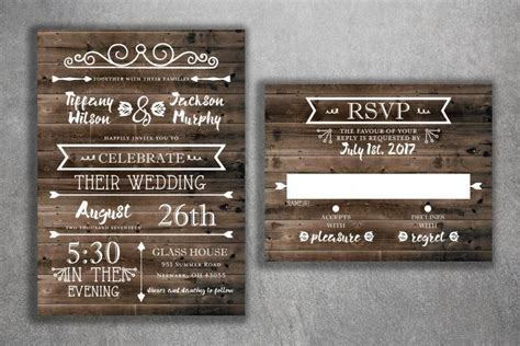 country wedding invitations set printed rustic wedding invitations burlap kraft wood