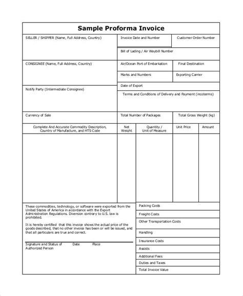 7 proforma invoice exles sles