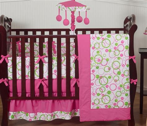 pink and green crib bedding pink and green circles modern baby bedding 9 pc crib set