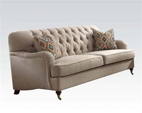 acme sofa alianza 52580 sofa in beige fabric by acme w options