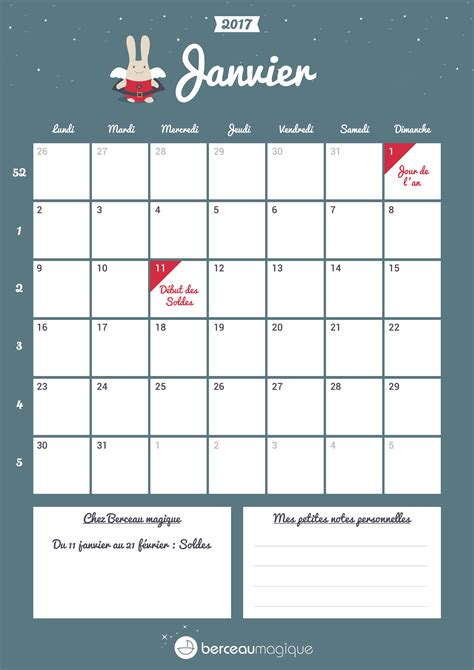 Janvier Calendrier 2017 Free Printable Calendrier De Janvier 2017 Berceau Magique