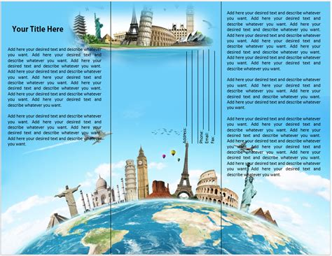 free travel brochure templates travel or tourist brochure template microsoft word templates