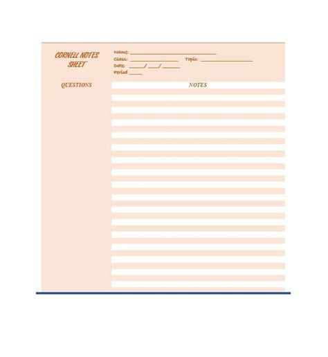 Notes Template by 36 Cornell Notes Templates Exles Word Pdf