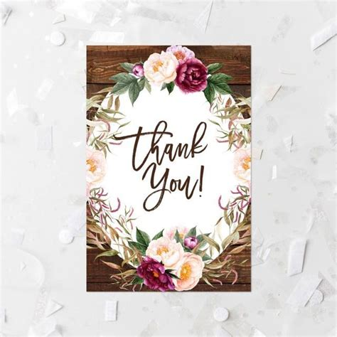 printable thank you cards bridal shower rustic floral thank you card printable floral wood bridal