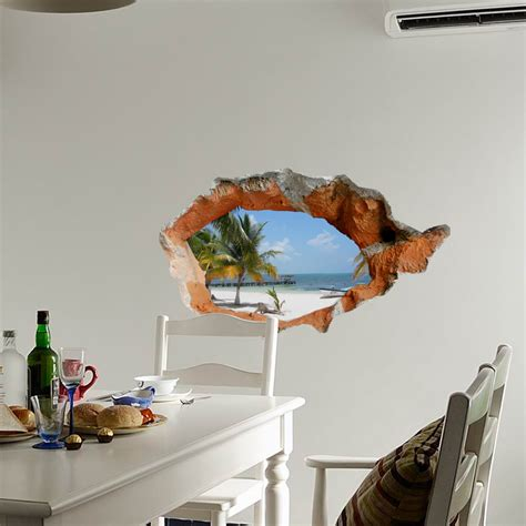 home decor 3d stickers 3d beach wall decals 38 inch removable sea wall art