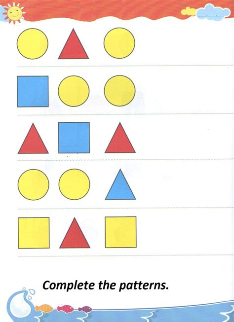 patterns with shapes for kindergarten complete the sequential pattern worksheet for kindergarten