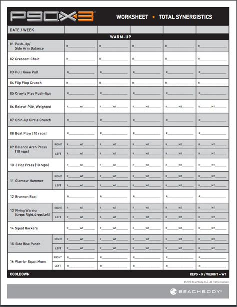 workout sheet p90x synergistics workout sheet avper workout