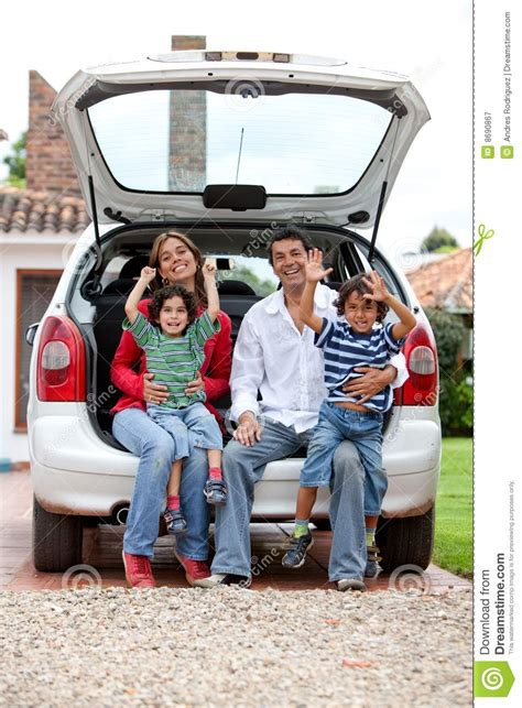Home Design 3d Outdoor Free Download family with a car royalty free stock photography image