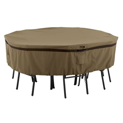 Classic Accessories Hickory Medium Round Patio Table And Patio Table Accessories