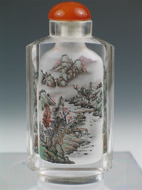 asian glass glass snuff bottle 20th c