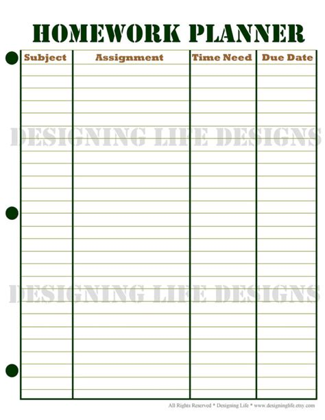 printable planner for students homework planner and weekly homework sheet by