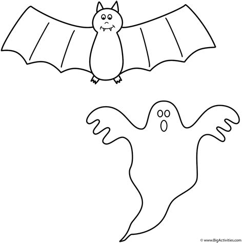 large ghost coloring page bat with ghost coloring page halloween