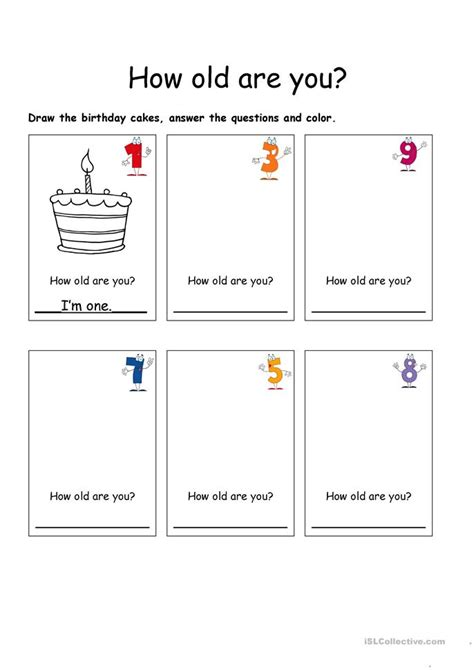 how oldd how are you worksheet free esl printable worksheets