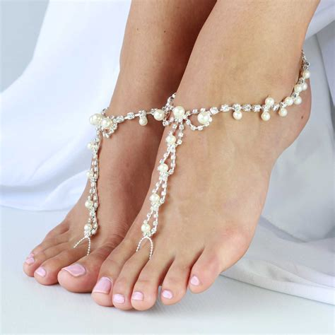 barefoot sandal barefoot sandals with rhinestones and pearl by