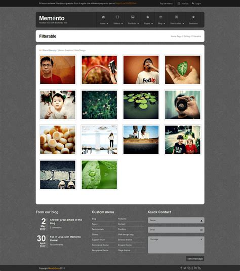 Html Photo Gallery Template Free memento un template html free your inspiration web
