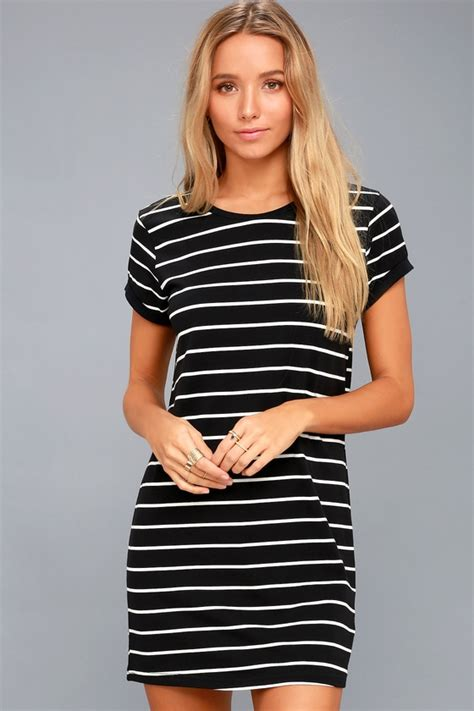 Striped Shirt Dress chic black striped dress shirt dress shift dress