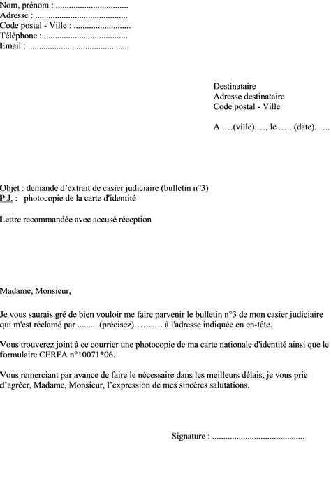 Modèle De Lettre Demande Extrait Kbis application letter sle modele de lettre de demande