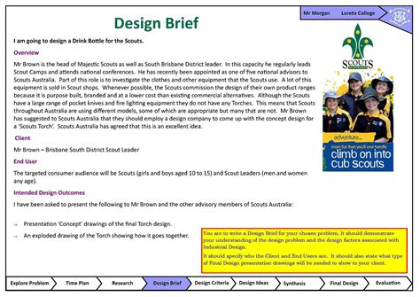 design brief evaluation design brief