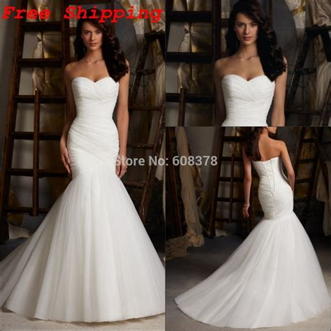 Aliexpress Buy 2014 Mermaid Bridal Gowns Crew Stunning Customer Made Strapless Pleated Tulle