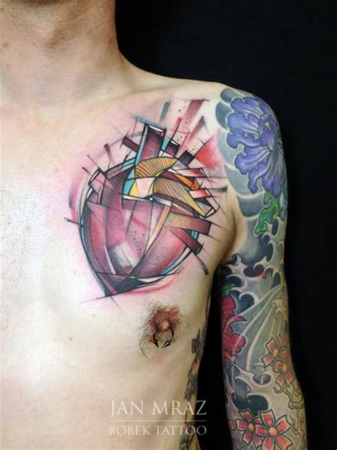 chest tattoo abstract chest heart abstract tattoo by jan mr 224 z