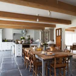 Modern Country Homes Interiors Farmhouse Style Kitchen Diner With Large Wooden Dining Table West Sussex Country House House
