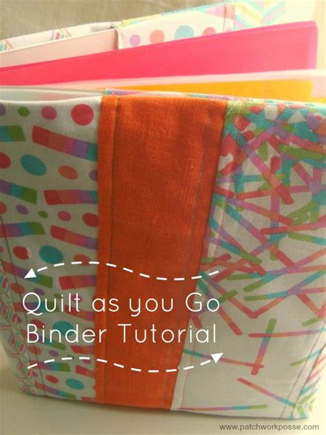 pattern for quilted notebook cover 3 ring binder cover tutorial quilt as you go technique