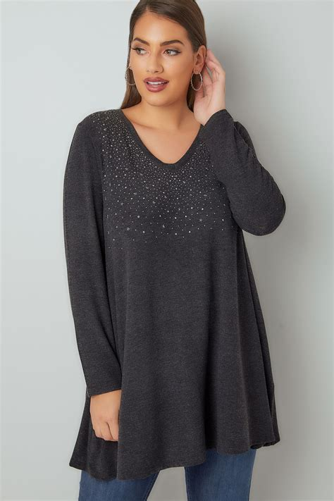 swing tunic top yoursclothing plus size womens star studded swing top