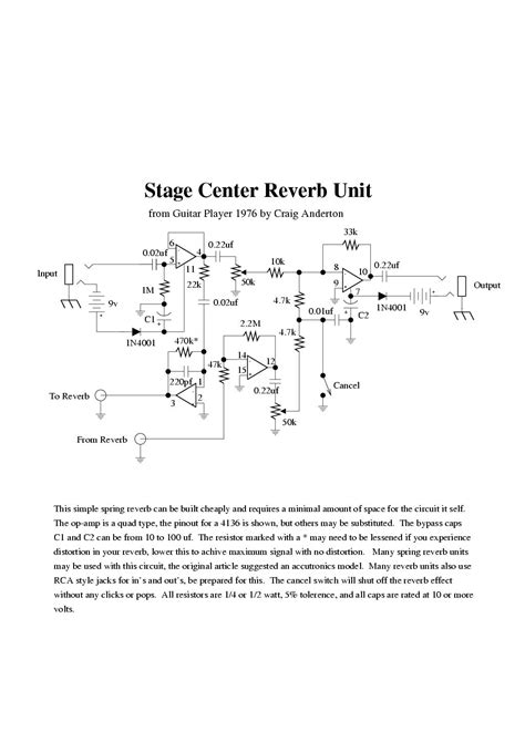 stage center reverb schematic electro music com view topic 9v psu spring reverb circuit