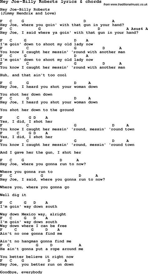 hey joe testo song lyrics for hey joe billy with chords
