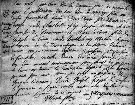 Beaumont Marriage Records Drapeau 9 August 1690 20 April 1754 Greenerpasture Genealogy