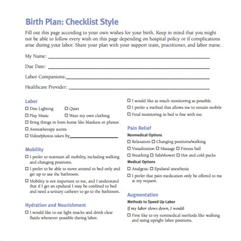 birth plan template printable birth plan template 20 free documents in pdf word