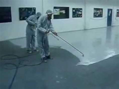 S R Epoxy Floor coating Spray application   YouTube