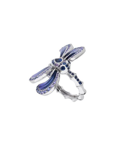 Top Casmiere Dragonfly lalique white gold dragonfly ring with sapphire amethyst neiman