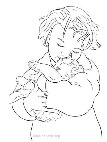 Petite fille avec chaton | Dessiner la vie