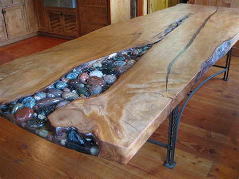 wooden extendable table with granite in lays for sale in kauri table cobbles not pebbles woodworking
