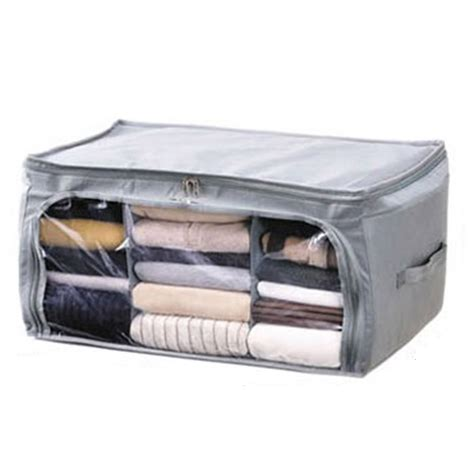 Bamboo Storage Box Cloth Organizer 4 Sisi 4 Sekat Besar high quality foldable bamboo storage bag box closet for