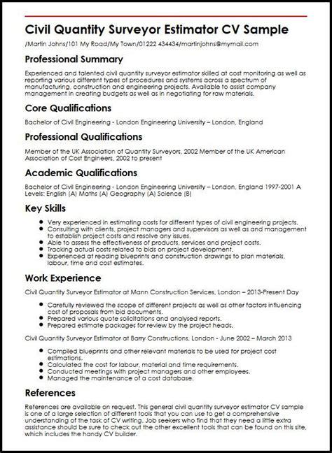 Resume Objective For Quantity Surveyor Construction Surveyor Resume