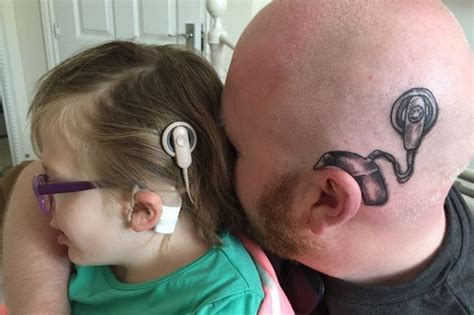tattoo behind deaf ear jozi gist dad gets tattoo of implant on his head to