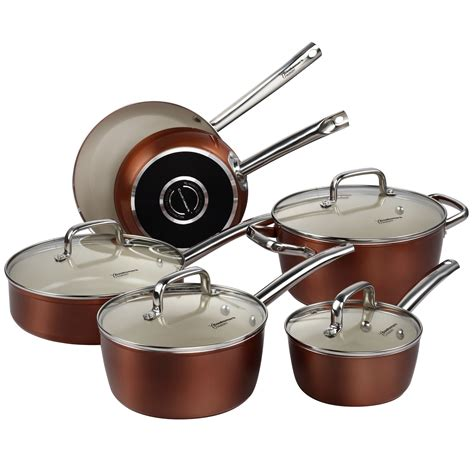 copper cookware set pots and pans set cooksmark ceramic cookware copper finish nonstick and new ebay