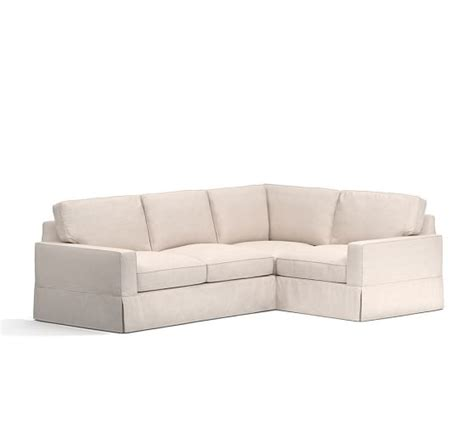 pb comfort sectional pb comfort square arm slipcovered 3 piece sectional with