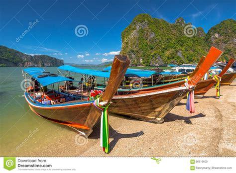 wooden boat james bond wooden bots in james bond island stock photo image 66916600