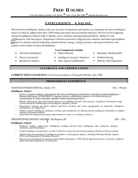combination intelligence analyst resume template