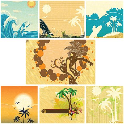 summer surf illustrations set vector