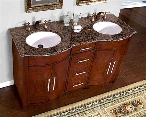 """Silkroad 58"""" Double Bathroom Vanity Brown Granite Top"""