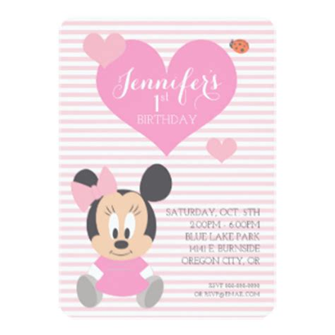 minnie mouse birthday card template disney birthday invitations announcements zazzle