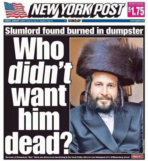 Hasidic Jew Meme - ny post cover of murdered jewish slumlord gets huge