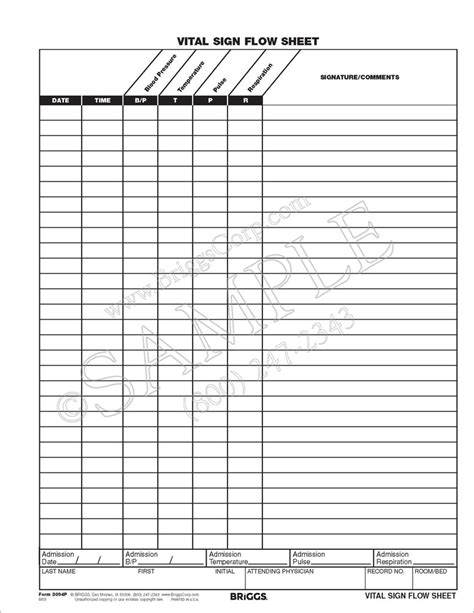 Vital Sign Flow Sheet Form Month 226 Record Residents