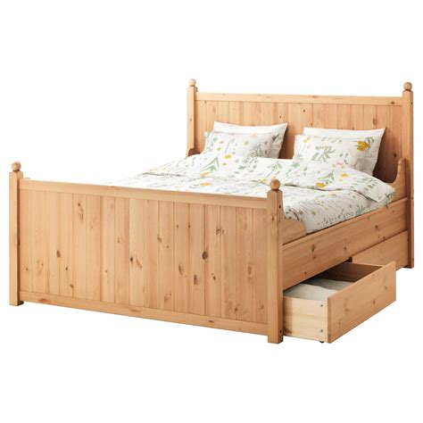 King Size Bed Frame Ikea Hurdal Bed Frame With 4 Storage Boxes Light Brown Lur 246 Y Standard Ikea